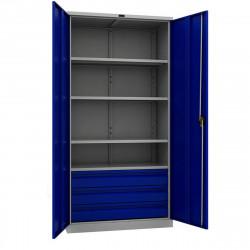 Шкаф инструментальный TC-1995-004030 1900*950*500 (4 б.полки, 3 б.ящика), серо-синий