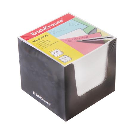 Блок для записей 80*80*80мм, куб, не склеенный, белый, подставка картонная черная Erich Krause 36984