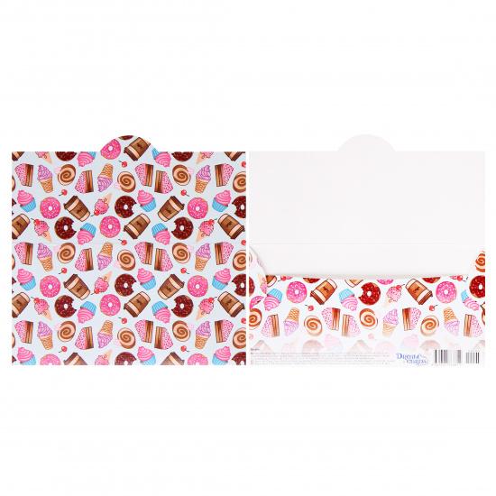 Открытка-конверт для денег 85*165мм, ламинация матовая, тиснение фактурное Без названия Сладости Миленд ЛХ-0095